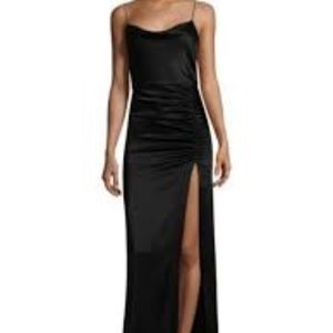 Alice and Olivia Diana Cowl Neck High Slit Maxi